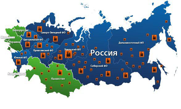 География продаж Завода ЗТОИМ
