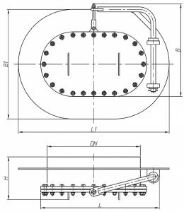 Люк-лаз овальный с поворотным устройством